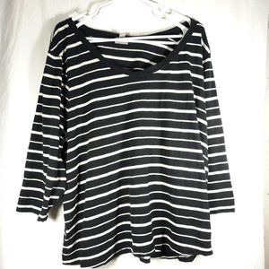 J. Jill 4X White Black Striped Top 3/4 Sleeves